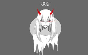 Picture girl, smile, horns, Darling In The Frankxx, Cute in France