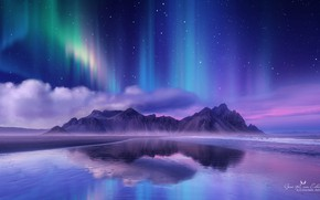 Picture mountains, night, Northern lights, Genes Raz von Edler
