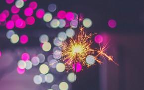 Picture night, sparks, night, bokeh, bokeh, Sparkler, sparkle