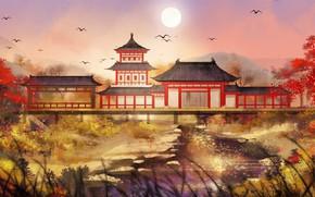 Picture landscape, houses, East