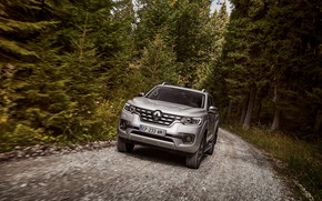 Picture forest, movement, Renault, pickup, 4x4, 2017, Alaskan, gray-silver