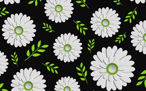 Picture flowers, texture, black background, Green, Design, Colorful, Background, Leaves, Floral