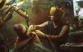 Picture tattoo, steampunk, Vladimir Manyukhin, Upgrade