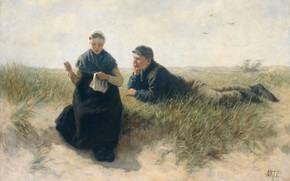 Picture oil, picture, canvas, 1890, David Adolph Constant Artz, Adolf Arts, Boy and Girl in the …