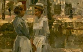 Picture figure, oil, cardboard, Isaac Israels, 1900, Maids, Isaac Israel