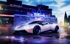 Picture Auto, White, Neon, Machine, Car, Car, Art, Vehicles, Lamborghini Huracan, Blind Sarathonux, Need For Speed ...