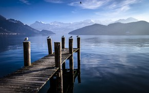 Picture mountains, lake, Switzerland, the bridge