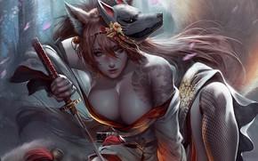 Picture Girl, Fox, Style, Girl, Sword, Fox, Mask, Art, Art, Style, Katana, Katana, Sword, Mask, Characters, …