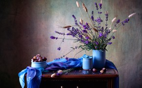 Picture fabric, table, grass, shawl, lavender, chestnuts, vases
