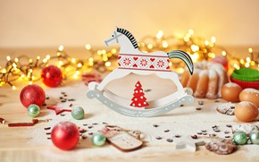 Picture balls, Christmas, cookies, decoration, garland, decor, cupcake, horse