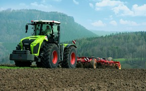 Picture field, tractor, Claas, plowing, agricultural machinery, Xerion 4000
