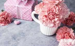 Picture flowers, gift, mug, hearts, love, pink, pink, flowers, beautiful, cup, romantic, hearts, gift, clove, carnation