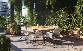 Picture leaves, table, vegetation, chairs, Penthouse apartment