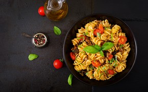 Wallpaper oil, tomatoes, mint, Pasta