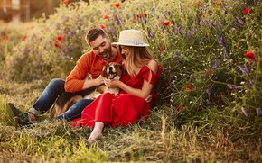 Picture girl, joy, flowers, mood, dog, hat, dress, guy, in red, smile, on the grass, sitting