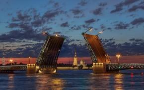 Picture white nights, Peter and Paul fortress, drawbridge, Saint Petersburg