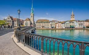 Picture building, Switzerland, lantern, promenade, Zurich