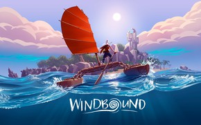 Picture sea, wave, girl, island, yacht, sail, Windbound