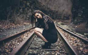 Picture Girl, Beautiful, Black, Autumn, Dress, Rails, Sight