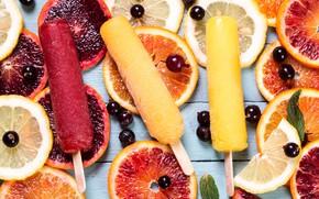 Picture ice, lemon, orange, ice cream