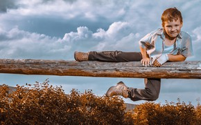 Picture the sky, clouds, boy, log, the bushes, child, ginger, naughty, Andrey Bortnikov