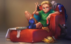 Picture cat, mess, mood, art, joystick, pizza, kid, home alone, Anna Anikeyka, You are a king …