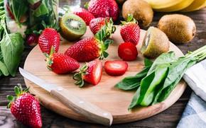 Picture berries, kiwi, strawberry, Board