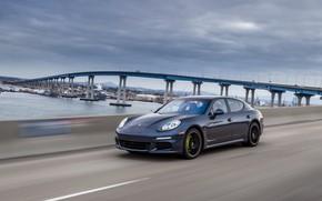 Picture road, bridge, north america, Porsche Panamera S E-Hybrid