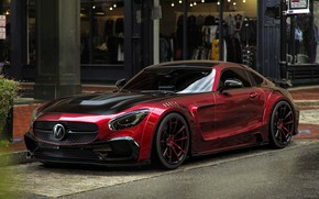 Picture Mercedes-Benz, Red, Auto, The city, Machine, Cherry, City, Mercedes, Red, Cherry, Auto, Machine, Mansory, AMG …