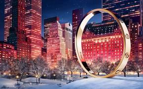 Picture winter, snow, night, home, stars, skyscrapers, light, bracelet, house, night, park, winter, skyscraper, snow, stars, …