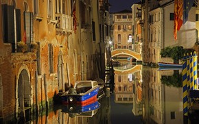 Picture bridge, lights, home, Italy, Venice, channel