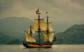 Picture sea, the sky, shore, sailboat