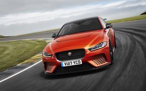 Picture the sky, orange, Jaguar, front, 2017, XE SV Project 8