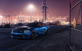 Picture Auto, Port, Night, Blue, Machine, Car, Car, Render, Dodge Charger, Hellcat, Rendering, SRT, Sports car, …