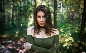 Picture greens, forest, look, trees, sexy, pose, Park, model, portrait, makeup, dress, hairstyle, Silvia, brown hair, …