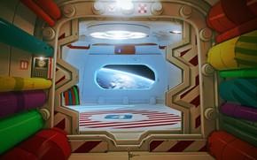 Wallpaper Art, Corridor, Ship, Rendering, Space, Art, Planet, by DOFRESH, DOFRESH