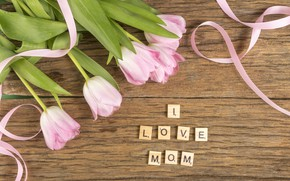 Picture flowers, the inscription, bouquet, tape, tulips, Mother's day, I love mom, Dmytro Sheremeta