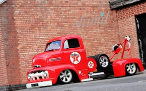 Picture Ford, Red, Truck, Custom, 1951 Year, Coe, C Series
