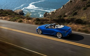 Picture road, coast, speed, Lexus, Convertible, LC 500, 2021