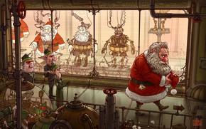 Picture Robots, Elves, Fantasy, Elf, Santa Claus, Art, Robots, Fiction, Machine, New Year, Santa Claus, Plant, …