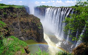 Picture the sky, the sun, clouds, trees, stones, rocks, waterfall, canyon, Victoria Falls, Rainbow Falls, Zambia