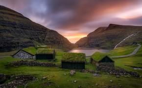Picture road, landscape, sunset, mountains, nature, lake, stones, home, Denmark, village, Saxon