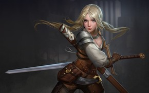 Wallpaper look, weapons, hair, Girl, sword