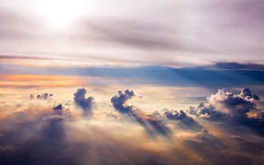 Picture Horizon, sky, landscape, clouds, sun rays, aerial view