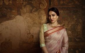 Picture girl, fashion, smile, model, beauty, pose, indian, makeup, saree, sari, traditional, Jewelery
