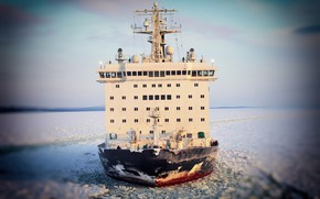 Picture The ocean, Sea, Ice, Icebreaker, The ship, Russia, Nose, Tank, The add-in, Atomflot, Nuclear-powered icebreaker, …