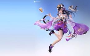 Picture anime, art, girl, kittens, kids, ., 叁乔居 3QSTUDIO, Immortal Meow female