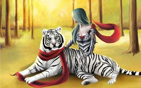 Picture forest, girl, tiger
