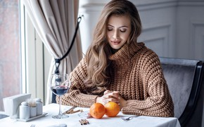 Picture pose, hair, Girl, hairstyle, table, Alexey Starski