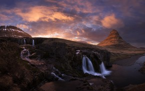Picture mountains, waterfalls, Iceland